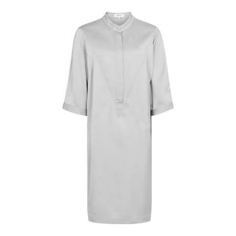 Reiss Silver Mccarthy Satin Shirt Dress