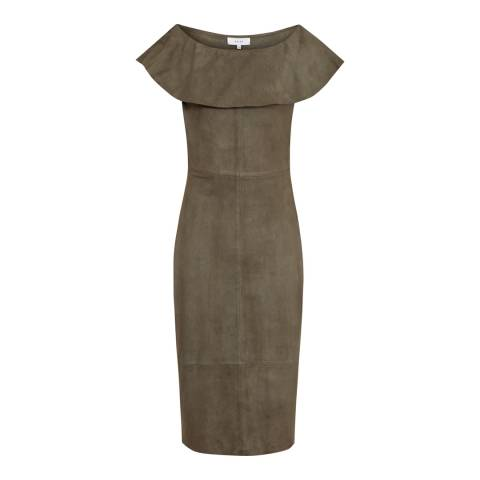 Reiss Khaki Fray Suede Dress