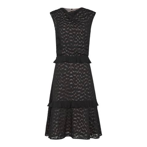 Reiss Black/Nude Abigail Embroidered Dress