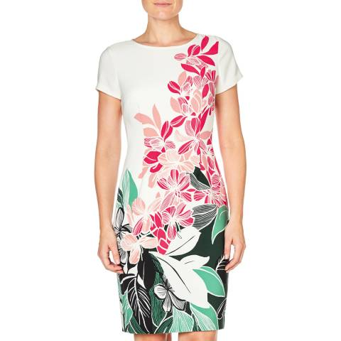 Adrianna Papell Pink/Green Printed Crepe Sheath Dress