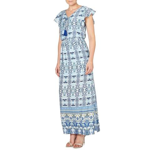 Adrianna Papell Blue Paisley Maxi Dress