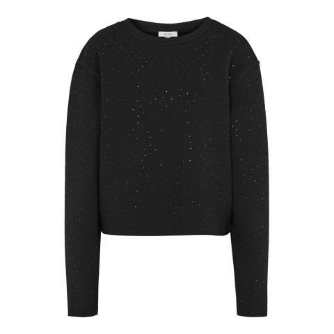 Reiss Black Leia Crystal Sweatshirt