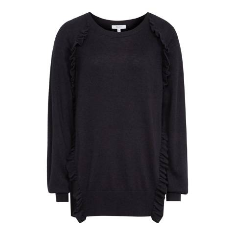Reiss Night Navy Leigh Ruffle Jumper