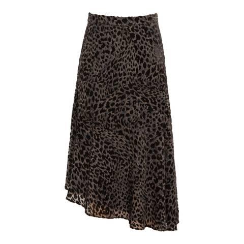 Reiss Black/Grey Neelam Burnout Midi Skirt