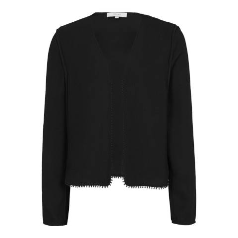 Reiss Black Nada Cropped Bolero Jacket