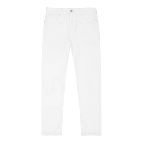 Reiss White Raven Straight Cotton Stretch Jeans