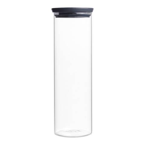 Brabantia Dark Grey Stackable Glass Jar, 1.9L