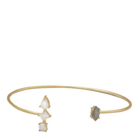 Liv Oliver Gold/Grey/White Multi Shape Cuff Bangle
