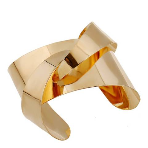 Chloe Collection by Liv Oliver Gold Asymmetrical Cuff Bangle