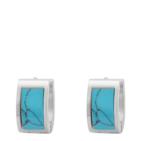 Chloe Collection by Liv Oliver Silver/Turquoise Huggie Earrings