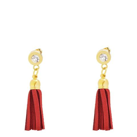 Chloe Collection by Liv Oliver Red/Gold Zirconia Tassel Earrings