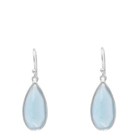 Alexa by Liv Oliver Silver/Blue Chalcedony Drop Earrings