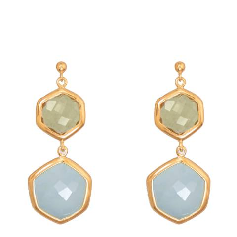 Liv Oliver Gold/Blue/Green Geometric Chalcedony Drop Earrings