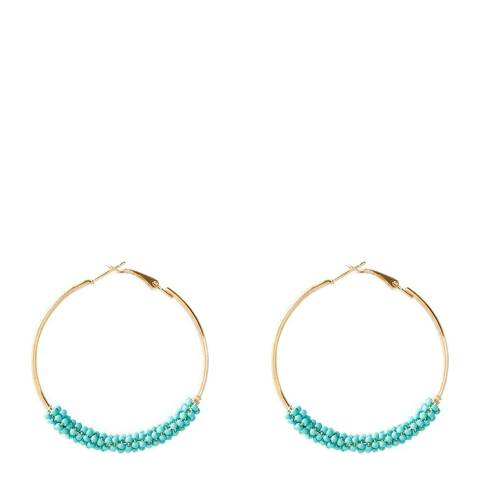 Chloe Collection by Liv Oliver Gold/Turquoise Bead Hoop Earrings