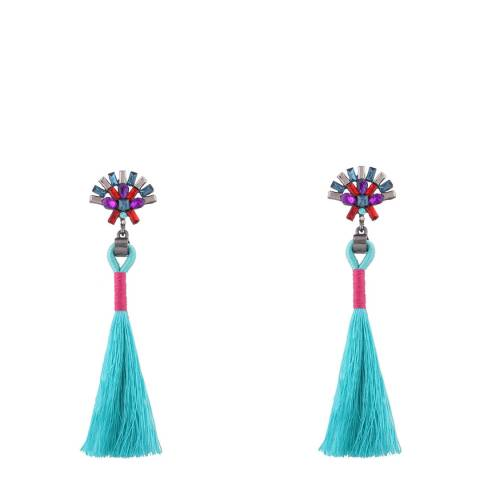 Chloe by Liv Oliver Turquoise Tassel Drop Earrings