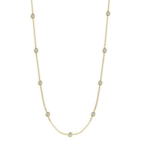 Black Label by Liv Oliver Gold Station Zirconia Necklace