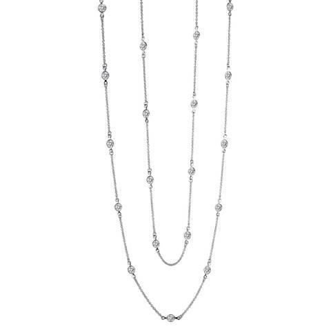 Liv Oliver Silver Station Zirconia Necklace