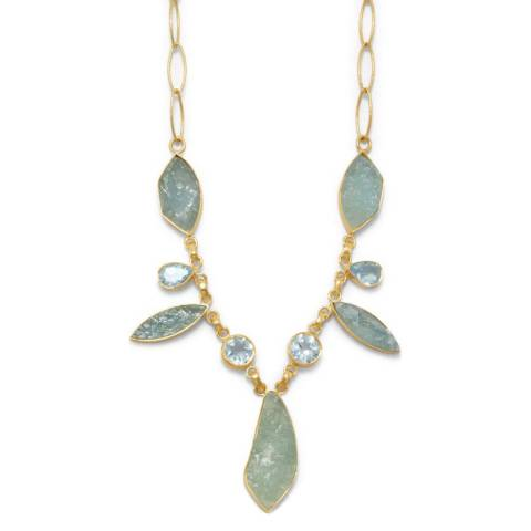 Liv Oliver Blue Topaz and Aquamarine Necklace