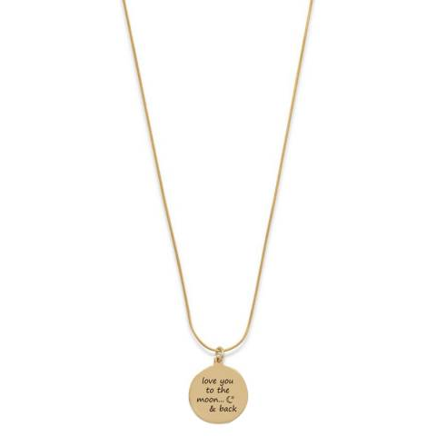 Chloe Collection by Liv Oliver Gold Love You To The Moon And Back Engraved Necklace