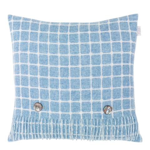Bronte by Moon Aqua Athens Check Merino Lambswool Cushion 40x40cm