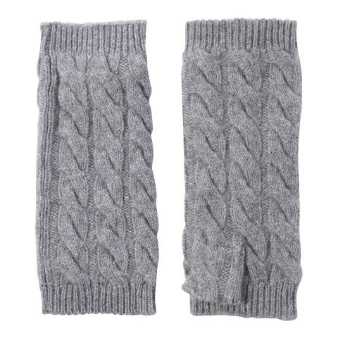 Laycuna London Grey Marl Cashmere Cable Knit Short Wrist Warmers