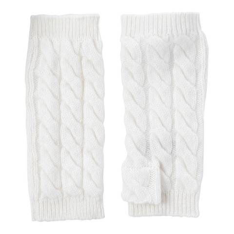 Laycuna London White Cashmere Cable Knit Short Wrist Warmers