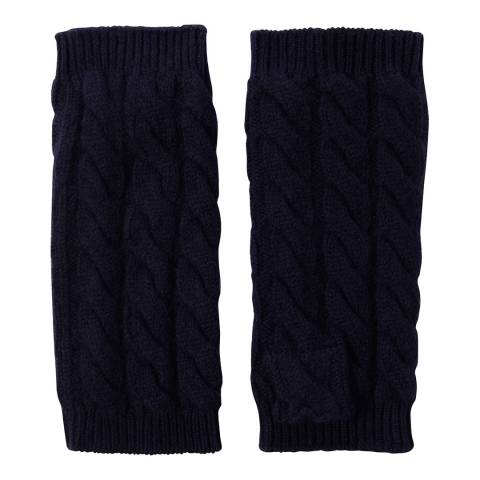 Laycuna London Navy Cashmere Cable Knit Short Wrist Warmers