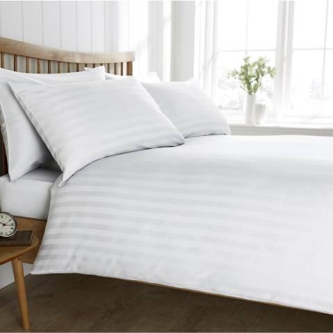 Behrens Satin Stripe Single Duvet Set, White