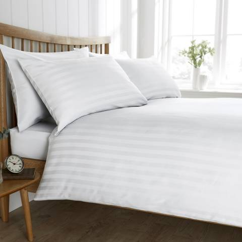 Behrens Satin Stripe Double Duvet Set, White