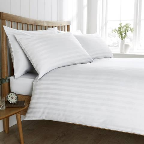 Behrens Satin Stripe King Duvet Set, White