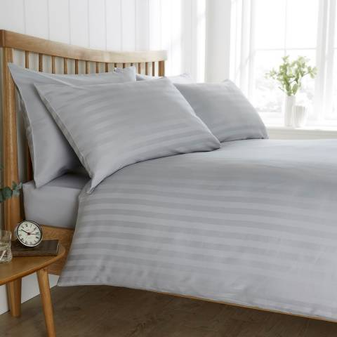 Behrens Satin Stripe Single Duvet Set, Grey