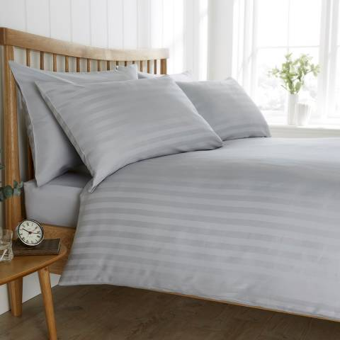 Behrens Satin Stripe Double Duvet Set, Grey