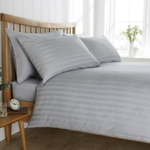 Behrens Satin Stripe King Duvet Set, Pale Grey