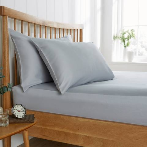 Behrens 200TC Single Fitted Sheet, Pale Grey
