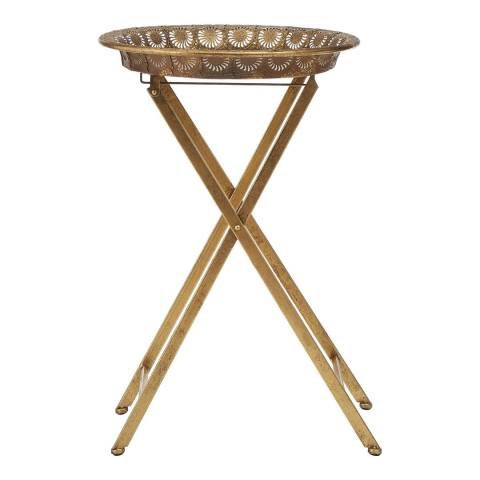 Premier Housewares Reza Folding Tray Table, Gold