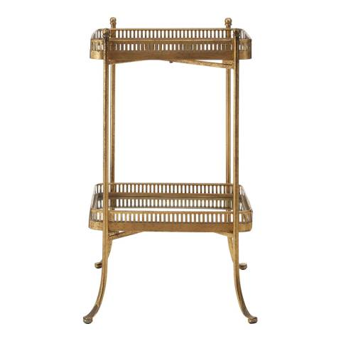 Premier Housewares Reza Tray Table, 2 Tiers, Gold