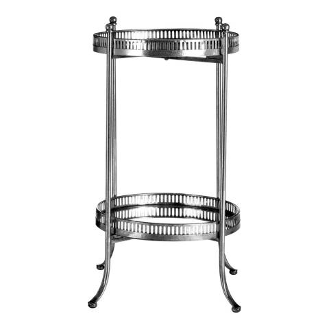 Premier Housewares Reza Mirrored Tray Table, Antique Silver