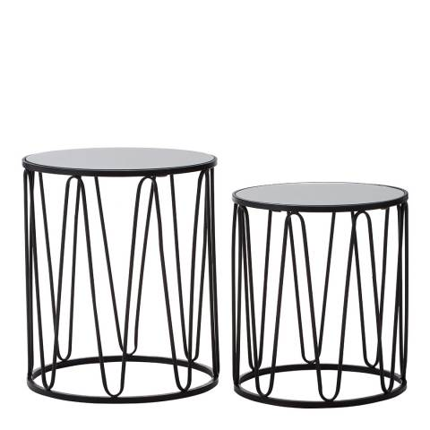 Premier Housewares Avantis Set of 2 Iron Tables, Black
