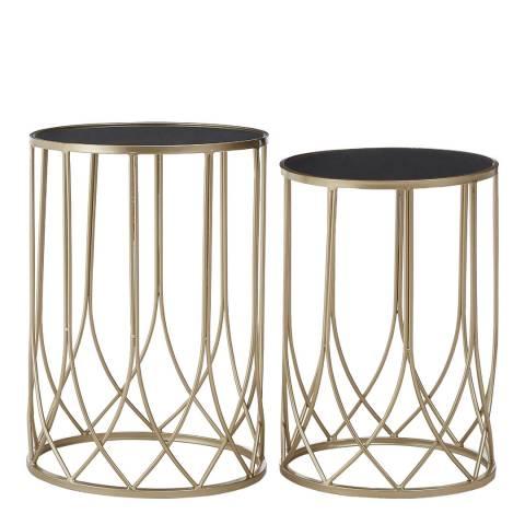 Premier Housewares Avantis Set of 2 Metal Tables, Champagne/Black