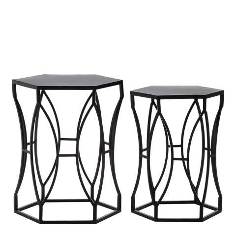 Premier Housewares Avantis Set of 2 Iron Tables, Black