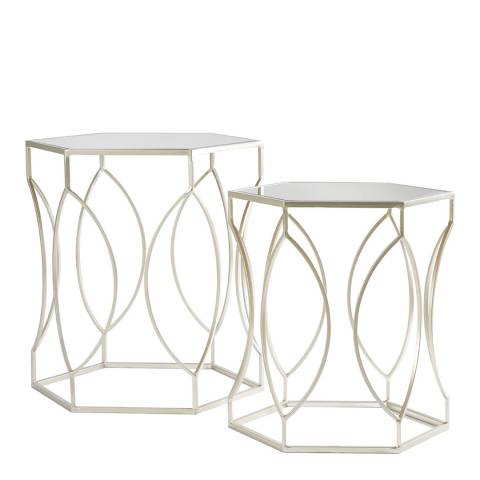 Premier Housewares Avantis Set of 2 Tables, Brushed Silver