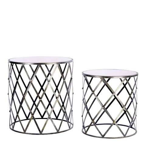 Premier Housewares Avantis Set of 2 Side Tables, Brushed Silver