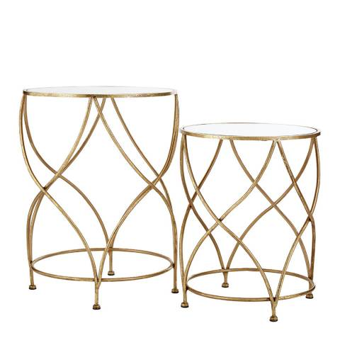 Premier Housewares Marcia Mirrored Top set of 2 Side Tables, Gold
