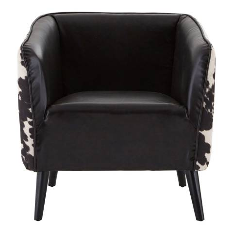 Premier Housewares Rodeo Cowhide Chair, Black/White