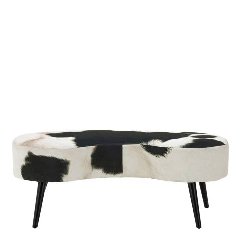 Premier Housewares Ringo Cowhide Print Bench, Black/White