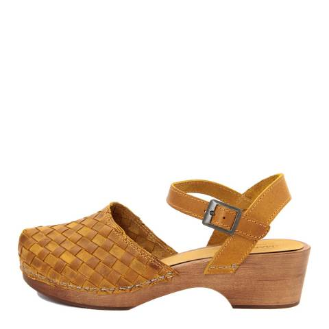 Marradini Mustard Yellow Leather Woven Effect Clog