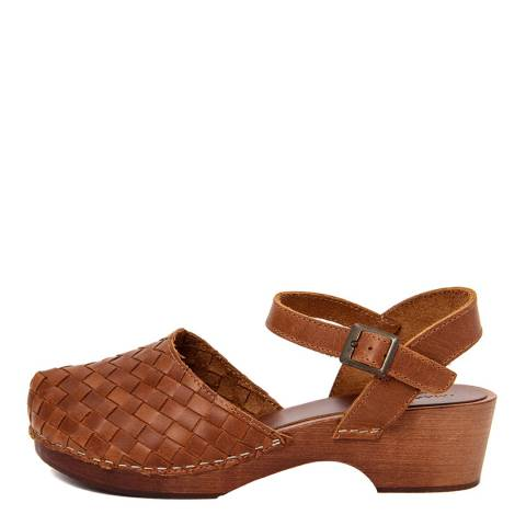 Marradini Tan Brown Leather Woven Effect Clog