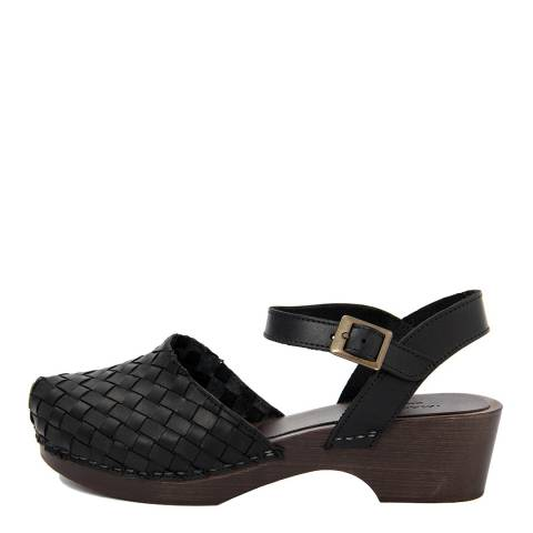 Marradini Black Leather Woven Effect Clog