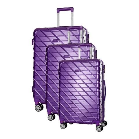 Travel One Violet Leiria Set Of Three 8 Wheeled Suitcases 46/56/66cm