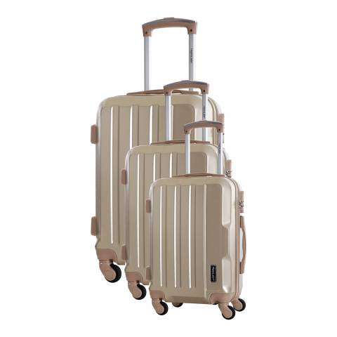 Travel One Beige Vilarosa Set Of Three 4 Wheeled Suitcases 46/56/66cm